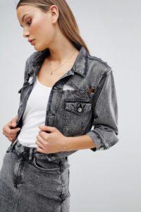 Diesel - Kurze Jeansjacke mit Rissen in Acid-Waschung - Schwarz - Farbe:Schwarz
