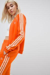 Adidas Originals - Orangefarbene Trainingsjacke mit Dreierstreifen - Orange - Farbe:Orange