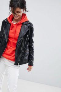 2NDDAY - Lang geschnittene Biker-Jacke aus Leder - Schwarz - Farbe:Schwarz