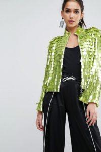 ASOS - Kimonojacke mit Pailletten - Grün - Farbe:Grün