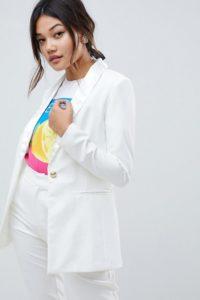 Amy Lynn - Figurbetonter Blazer mit Satin-Revers - Cremeweiß - Farbe:Cremeweiß