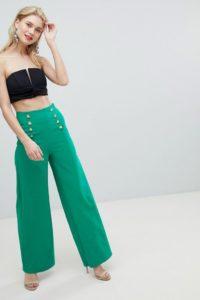 Flounce London - Elegante Hose mit weitem Bein und goldenen Knöpfen - Grün - Farbe:Grün