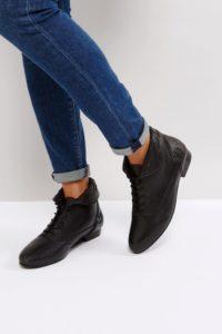 ASOS - AUTUMN - Lederstiefel zum Schnüren - Schwarz - Farbe:Schwarz