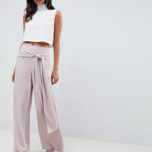 ASOS DESIGN Occasion - Weitgeschnittene Oversize-Hose mit Bindeband vorne - Rosa - Farbe:Rosa