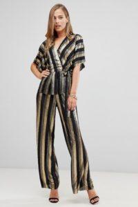 Flounce - Hose mit weitem Bein in Gold-Metallic gestreift - Schwarz - Farbe:Schwarz