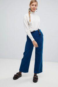 Monki - Blaue Cord-Hose mit weiten Beinen - Blau - Farbe:Blau