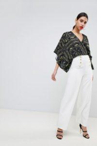Flounce London - Elegante Hose mit weitem Bein und goldenen Knöpfen - Weiß - Farbe:Weiß