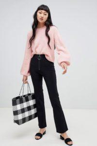 Weekday - Ausgestellte Hose mit Reißverschluss - Schwarz - Farbe:Schwarz