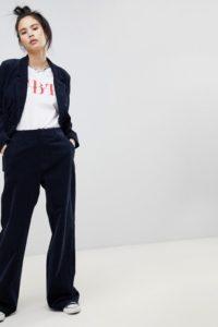 Pull&Bear - Ausgestellte Hose aus marineblauem Cord - Beige - Farbe:Beige