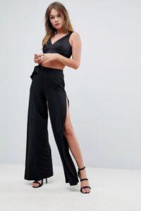 ASOS - Anschmiegsame Hose mit weitem Beinschnitt und Schleifenverzierung - Schwarz - Farbe:Schwarz