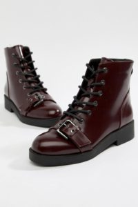 ASOS DESIGN - Acoustic - Robuste Biker-Stiefel - Rot - Farbe:Rot