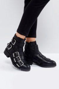 ASOS - AGILE - Lederstiefel mit mehreren Schnallen - Schwarz - Farbe:Schwarz