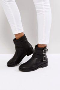 ASOS - ALLEN - Biker-Stiefel aus Leder - Schwarz - Farbe:Schwarz