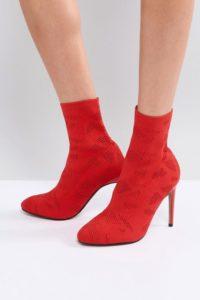 ASOS - ELYSSA - Gestrickte Stiefel - Rot - Farbe:Rot