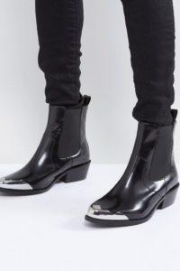 ASOS - AMBERLEY - Chelsea-Lederstiefel im Western-Stil - Schwarz - Farbe:Schwarz