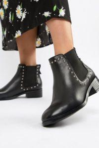 ALDO - Eraylia - Chelsea-Lederstiefel mit Nieten - Schwarz - Farbe:Schwarz