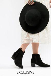 Miss Selfridge - Ankle-Boot mit Absatz und seitlichen Fransen - Schwarz - Farbe:Schwarz