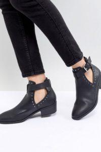 ASOS DESIGN - Ace - Ankle-Boot mit Nieten und Cut-out - Schwarz - Farbe:Schwarz