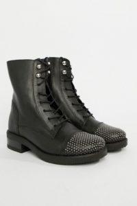 Aldo - Flache Leder-Anke-Boots zum Schnüren - Schwarz - Farbe:Schwarz