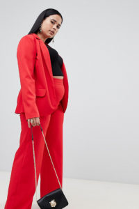 Missguided Plus - Zugeschnittene Hose in Rot mit weitem Bein - Rot - Farbe:Rot