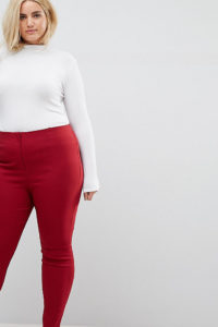 ASOS CURVE - Enge Hose mit hohem Bund - Rot - Farbe:Rot