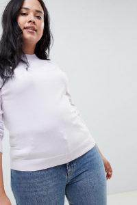 ASOS DESIGN - Curve - Fein gestrickter Pullover mit hohem Kragen - Violett - Farbe:Violett