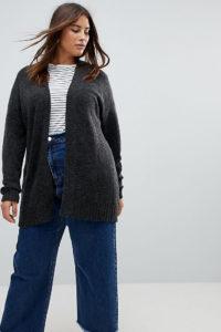 ASOS CURVE - Grobstrickjacke aus Wollmischung - Grau - Farbe:Grau