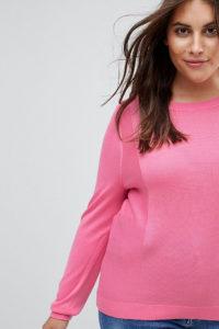 ASOS CURVE - Pullover mit Rundhalsausschnitt und Bahnendetail - Rosa - Farbe:Rosa