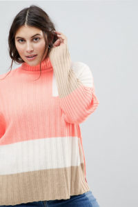 ASOS CURVE - Gerippter Pullover mit Blockmuster - Gelb - Farbe:Gelb