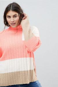 ASOS CURVE - Gerippter Pullover mit Blockmuster - Gelb - Farbe:Gelb