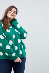 ASOS CURVE - Pullover mit Punktemuster - Grün - Farbe:Grün