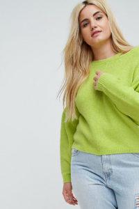 ASOS CURVE - Pullover mit weiten Ärmeln und Cutout am Ausschnitt - Gelb - Farbe:Gelb