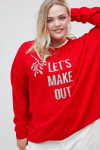 ASOS CURVE - Weihnachtspullover mit Let's Make Out-Textprint - Rot - Farbe:Rot