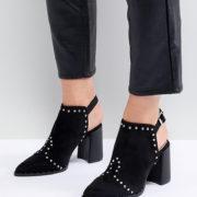 Lost Ink - Jasmine - Schwarze Ankle-Boots mit Zierausschnitt und Nieten - Schwarz - Farbe:Schwarz
