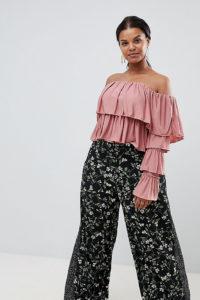 Missguided - Plus - Weite Hose mit Blumen- und Punktmuster - Schwarz - Farbe:Schwarz