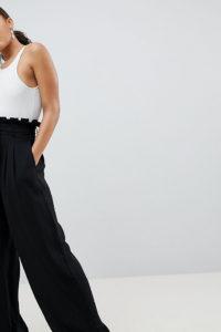 Missguided Tall - Hose mit weitem Beinschnitt und Paperbag-Taille - Schwarz - Farbe:Schwarz