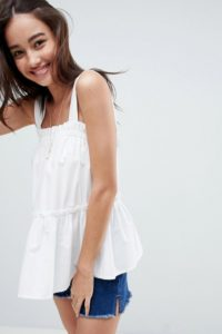 ASOS - Ausgestellte Camisole aus Baumwolle mit Rüschen - Weiß - Farbe:Weiß
