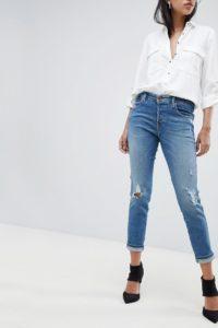 Diesel - Babhila - Schmal geschnittene Jeans mit hohem Bund und zerschlissenem Detail - Blau - Farbe:Blau