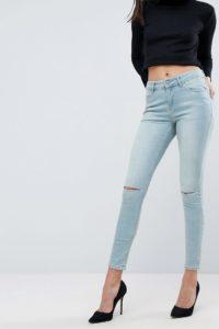 ASOS - Lisbon - Skinny-Jeans in Crocus-Waschung mit mittelhohem Bund und Zierrissen - Blau - Farbe:Blau
