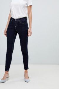 ASOS - LISBON - Enge Jeans in Indigo-Jeansblau mit mittelhohem Bund und Kontrastnähten - Blau - Farbe:Blau