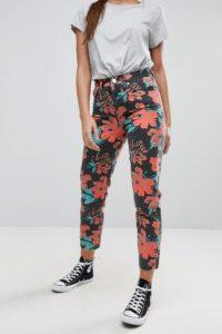 ASOS - ORIGINAL - MOM-Jeans mit verwaschenem Blumenprint - Mehrfarbig - Farbe:Mehrfarbig