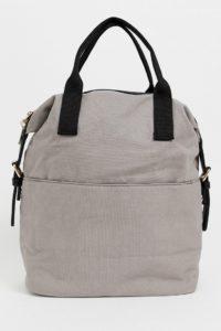 ASOS - Canvass-Rucksack mit Reißverschluss und doppelten Griffen - Grau - Farbe:Grau