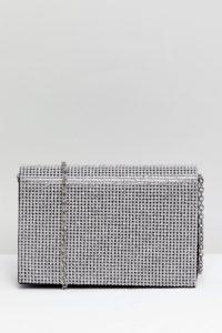 Accessorize - Cara - Clutch mit Kette und Strasssteinen - Silber - Farbe:Silber