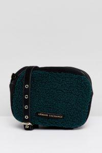 Armani Exchange - Umhängetasche aus Teddymaterial - Grün - Farbe:Grün