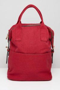 ASOS - Canvass-Rucksack mit Reißverschluss und doppelten Griffen - Rot - Farbe:Rot