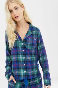 Abercrombie & Fitch - Pyjamaoberteil aus Schottenstoff mit Seitenbahn - Navy - Farbe:Navy