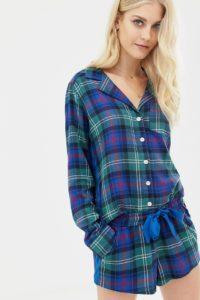 Abercrombie & Fitch - Kurze Pyjamahose aus Schottenstoff mit Seitenbahn - Navy - Farbe:Navy