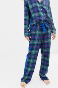 Abercrombie & Fitch - Pyjamahose aus Schottenstoff mit Seitenbahn - Navy - Farbe:Navy