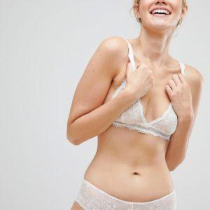 Monki - Lang geschnittener Spitzen-BH - Weiß - Farbe:Weiß