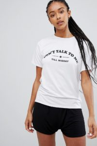Adolescent Clothing - Don't talk to me til midday - Pyjama-Set mit T-Shirt und Shorts - Mehrfarbig - Farbe:Mehrfarbig